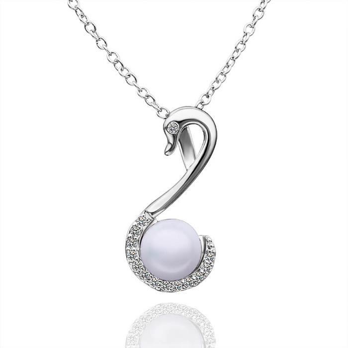 Collier pendentif Plaqué platine 750/00 18K carats Bijou fantaisie haut de gamme Femme Blanc Perle Cygne Izar