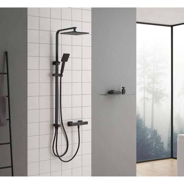 auralum ensemble de douche syst me de douche mural colonne solide douchettes robinet pour salle. Black Bedroom Furniture Sets. Home Design Ideas