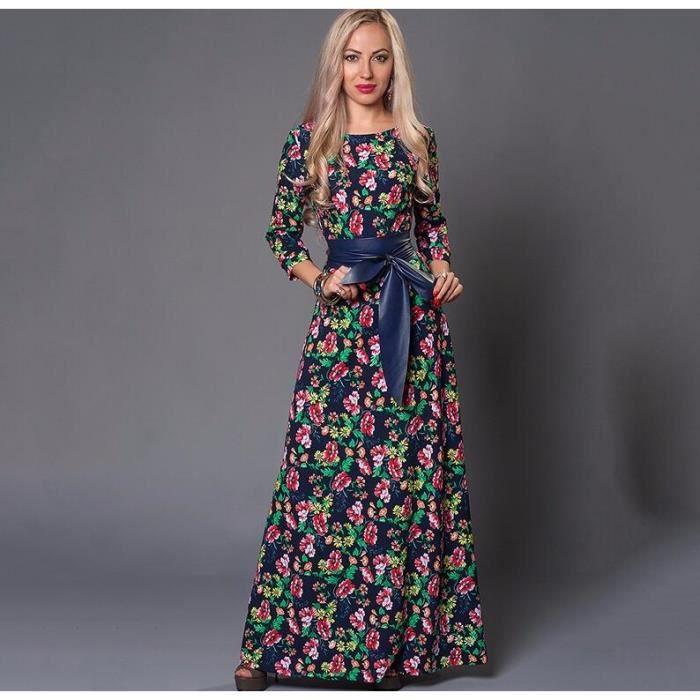 femmes robe longue casual manches longues avec ceinture simple flavor comme image2 achat. Black Bedroom Furniture Sets. Home Design Ideas