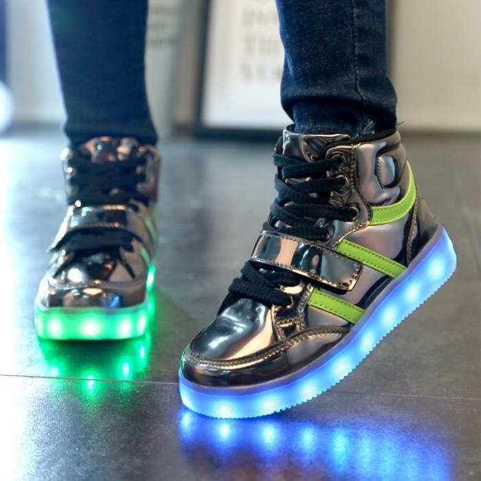 Enfants Loisirs chaussures Baskets Garçons filles Bébé LED 7 Couleur USB Chaussures de sport Coussin d'air chaussures JJs6TKXUy