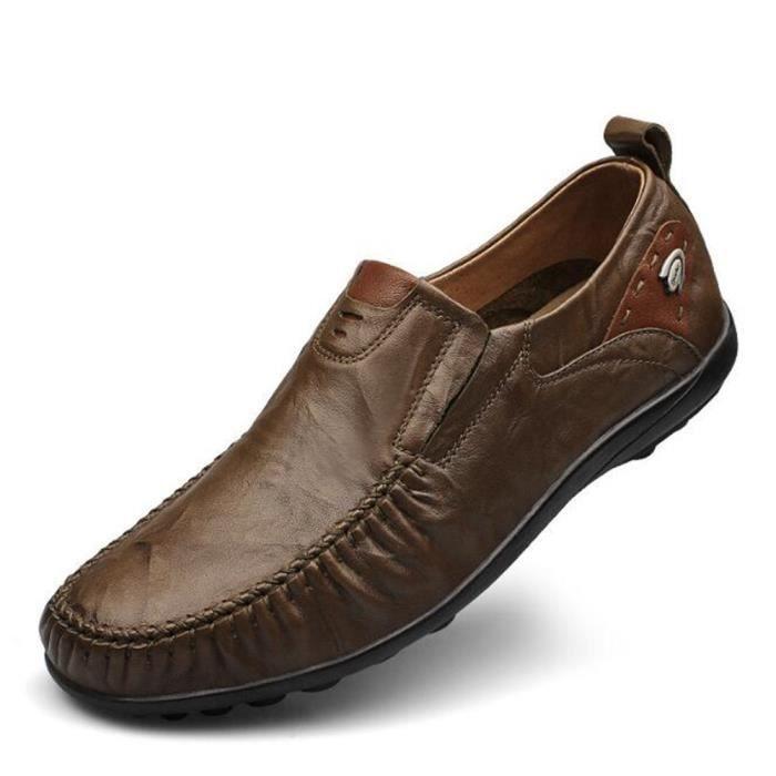 chaussure homme Super doux Cuir véritable Marque De Luxe Moccasins Nouvelle Mode Antidérapant Durable Grande Taille 46 xSD0sk
