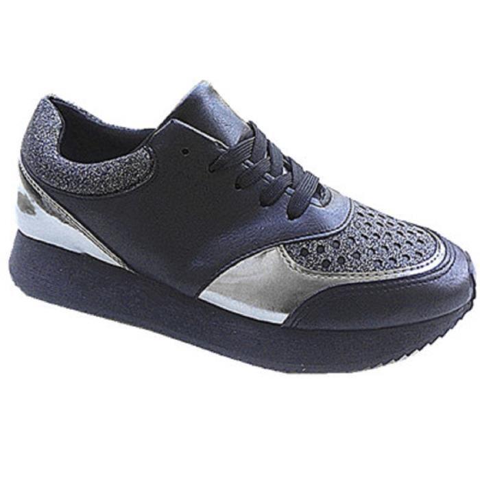 Femme Basket Compensée BI-Matière Sporty Matelassé Brillant Sneakers Basses G109