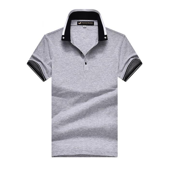 Polo Homme Uni Manches Courtes Coupe Classic Fit T-shirt Été Elegant Col  rabattu d472e54ad5d6
