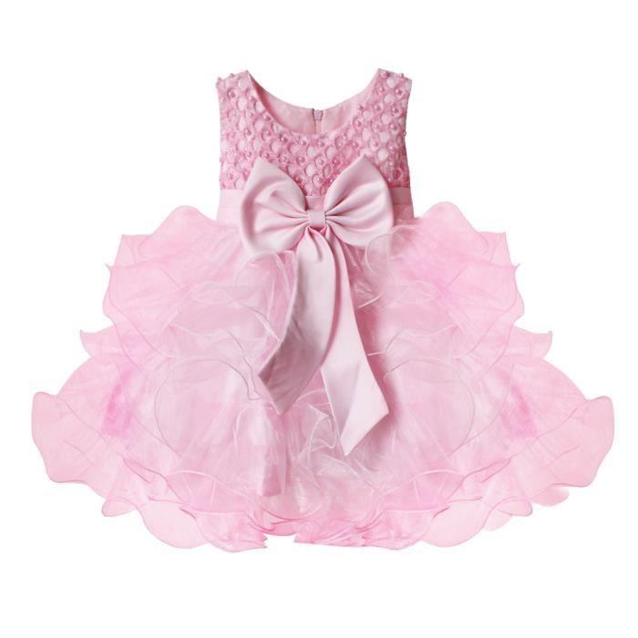 Robe De Cérémonie Robe Princess Filles Bébé Fête Sans Manches De 3 à 24 Mois été Mariage Anniversaire
