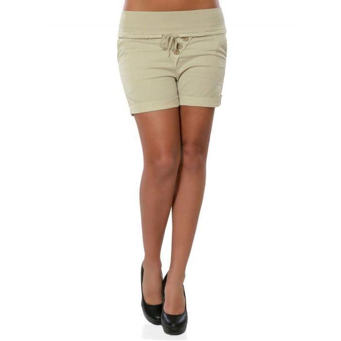 Plage Élastique Hot Shorts Minetom Pants Mode Skinny Grande Taille Slim Mi Boutons Cordon Pantalon Taille Femmes Courte Été Casual fzwp4A