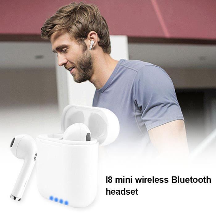 2pcs Écouteurs Bluetooth Sport Stéréo Earpods I8 Mini Casque De Musique Sans Fil Avec Charge Boîte Pour Iphone Android