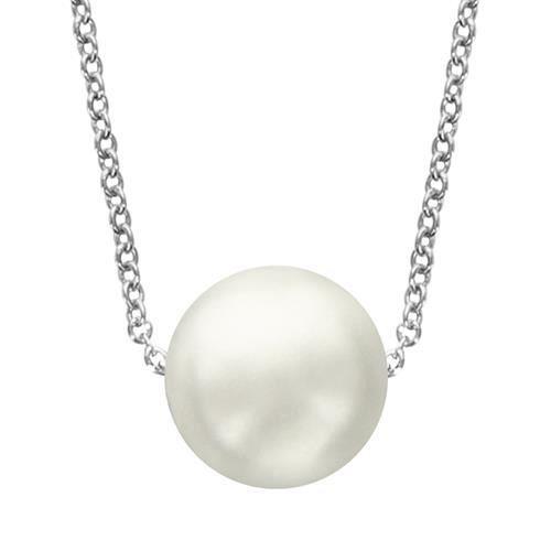 Collier Femme 40 + 4 cm Perle Blanche Argent