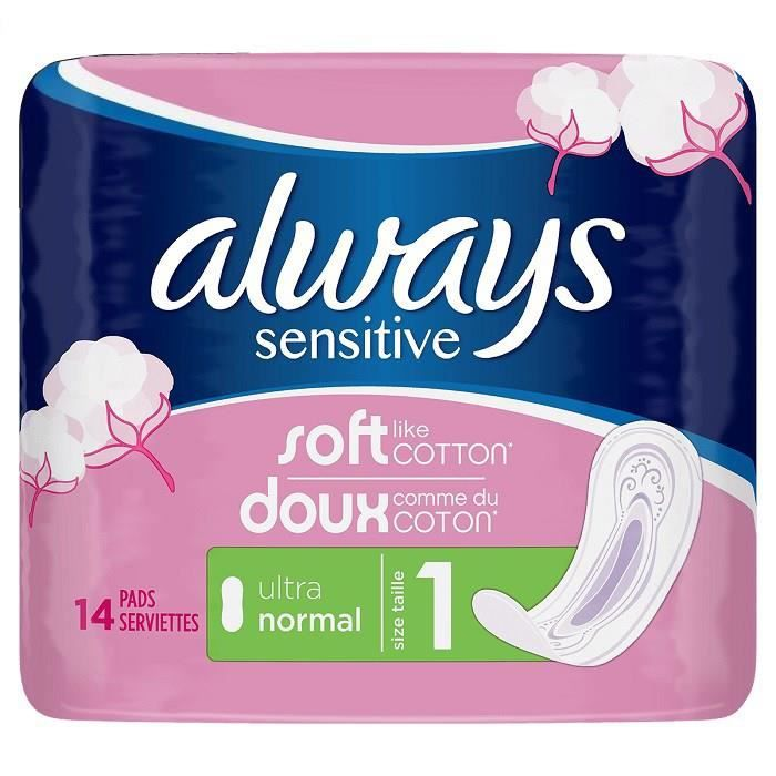 ALWAYS Sensitive Pack de 14 Serviettes Hygiéniques Normal