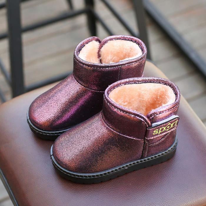 Enfants automne hiver chaud Mode enfants Martin filles occasionnels bottes de neige Violet NCzWe