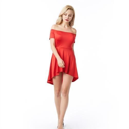 Fitibest Femmes élégant Haut Bas Robe patineuse, rouge