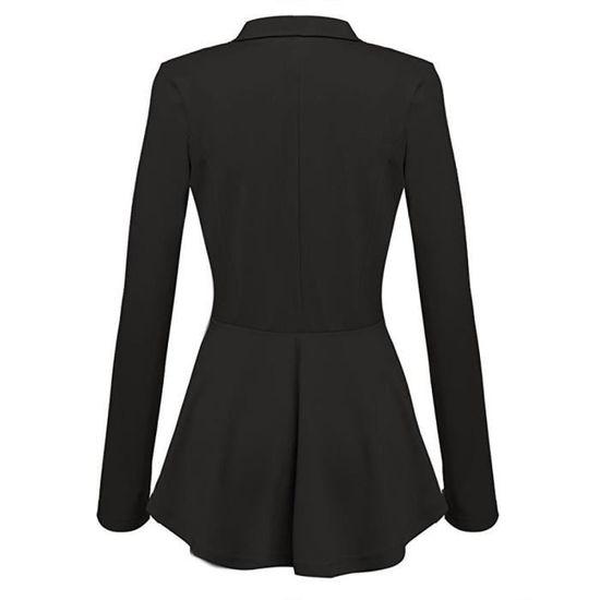 Femme Longues Noir Manteau Blazer Outwear Peplum Veste Casual Bouton Volants Manches Eqd6wxfE
