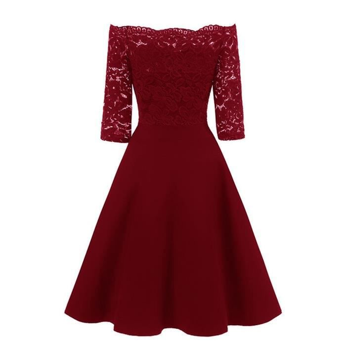 Femmes New Vintage dentelle Patchwork Off épaule Cocktail Party Retro Swing Dress@Rouge