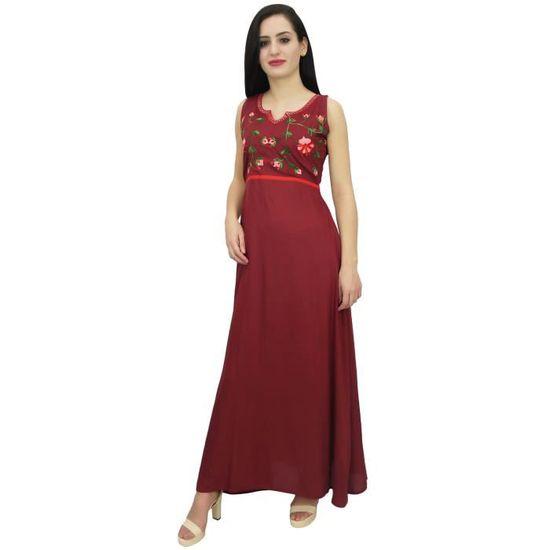 1e3d6086e2d Rayonne robe longue rouge foncé des femmes bimba brodé robe maxi sans  manches Rouge Rouge - Achat   Vente robe - Cdiscount