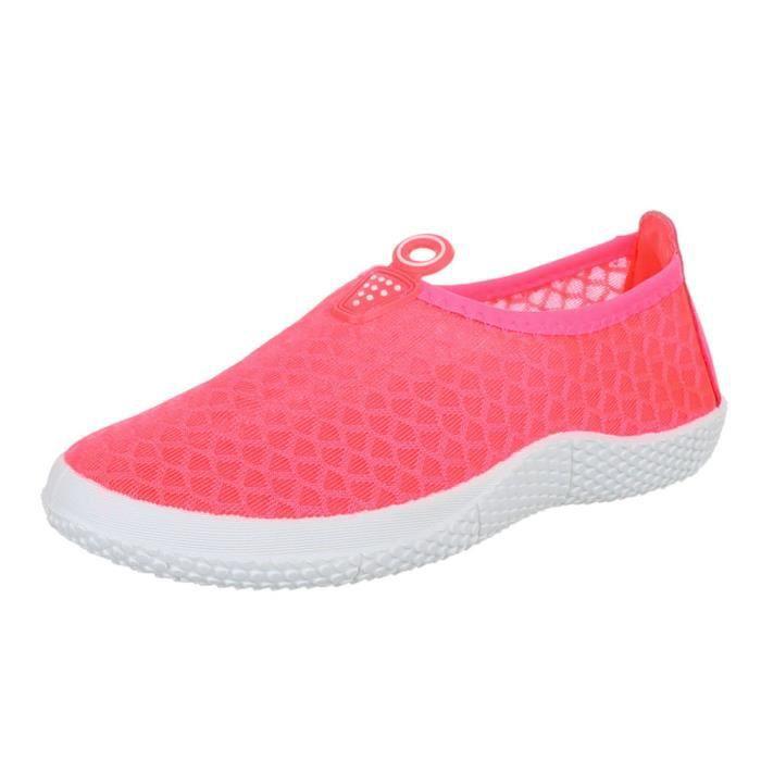 femme chaussure basse chaussure chaussures décontractées mocassin rose vif jIHTQ1VRj