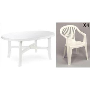 Salon de jardin: Table VEGA blanche + 4 chaises Bistrot blanc ...