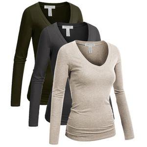 T-SHIRT T-shirt décontracté basique à col en V pour femmes