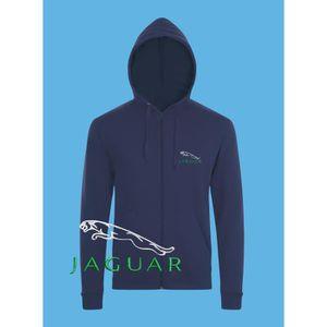 c8ce51a020eef SWEATSHIRT Jaguar Sweat à Capuche Pull Zippé Logo Brodé Bleu