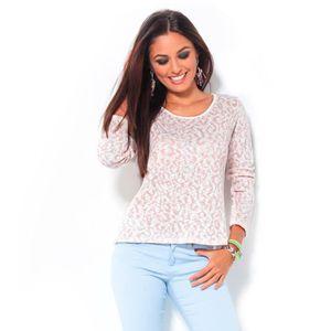 PULL Chandail tricoté pour femme avec ouverture dans le
