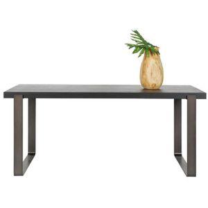 TABLE À MANGER SEULE Table à manger en chêne noir, piètement en métal -