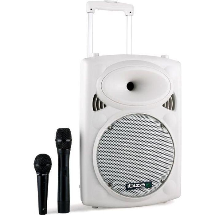 IBIZA PORT10VHF-BT-WH Système de sonorisation portable autonome 10 / 25cm avec usb, mp3, bt, rec, vox, 1 micro vhf - Blanc
