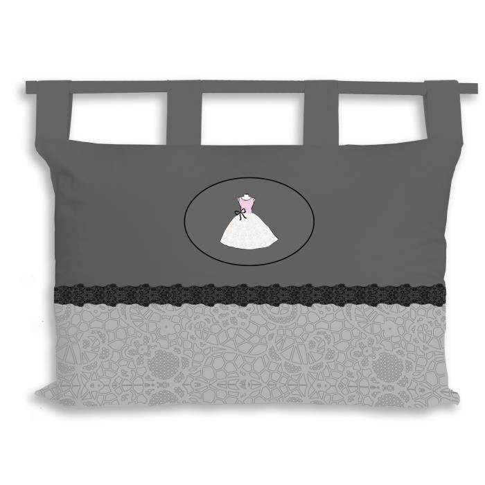 SOLEIL D' OCRE Tête de lit 100% coton ANAIS - 45 x 70 cm - Gris