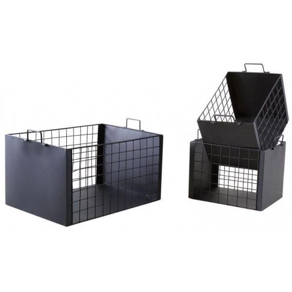 SALLE DE BAIN COMPLETE Caisses de rangement en métal laqué noir mat (Lot