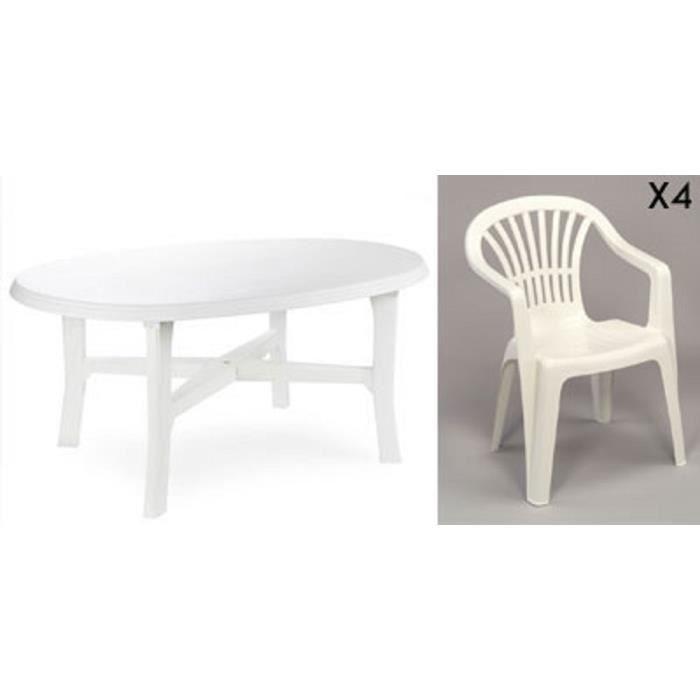 Table ovale blanche + 4 fauteuils jardin plastique blanc empilables ...