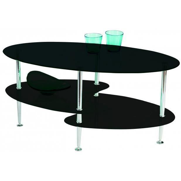 Table Basse En Verre Noir 3 Plateaux Joko Chrome Noir Achat