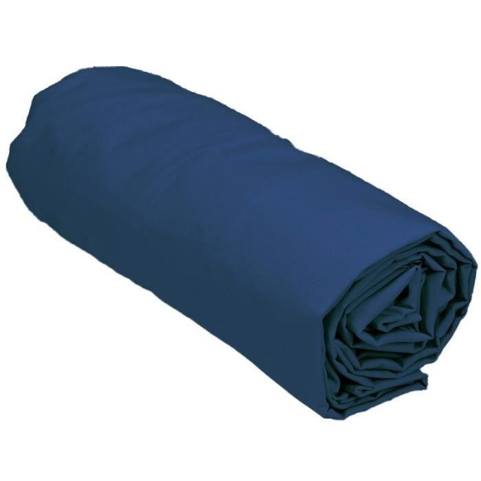 DRAP HOUSSE Drap housse 200x200 cm 100% percale couleur INDIGO