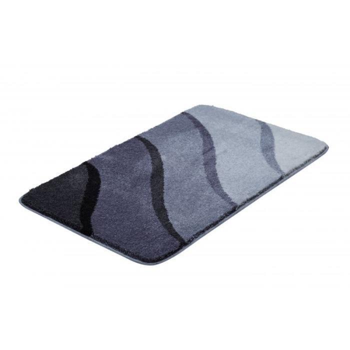 Tapis de salle bain 70 x 120 cm design couleur noir gris - Achat ...