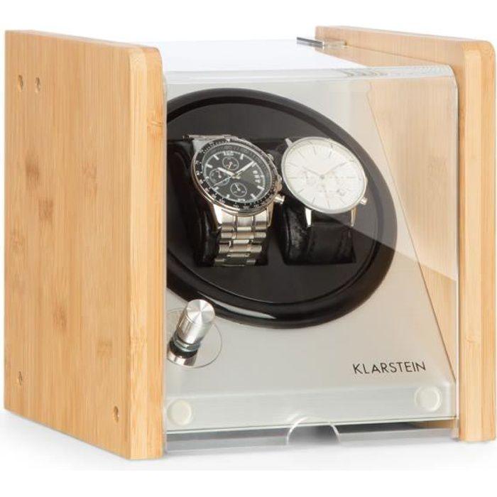 Klarstein Hanoi 2 Remontoir automatique pour 2 montres - 4 programmes et 3  vitesses de rotation - Moteur silencieux - Design bambou c77802eea0d