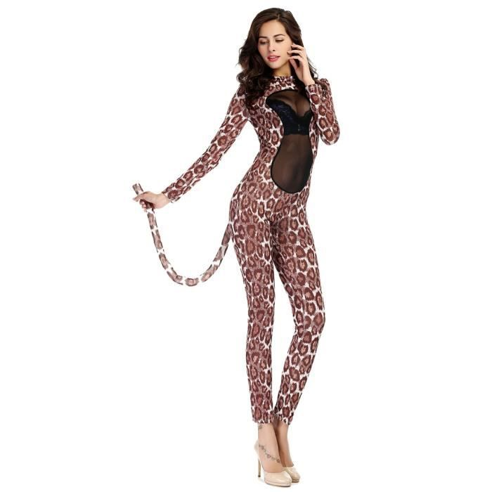 femme halloween d guisement l opard transparent costume. Black Bedroom Furniture Sets. Home Design Ideas