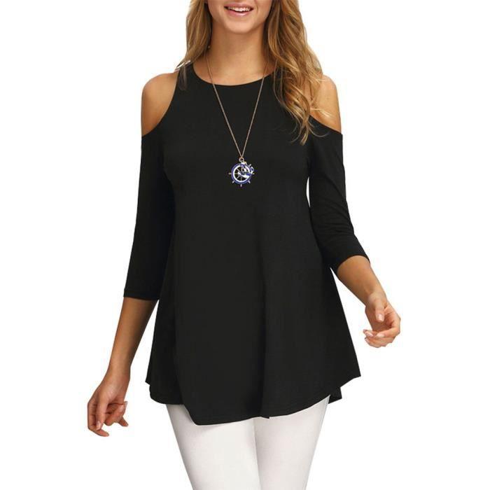 smile ykk blouse femme chic epaule nue manches 3 4 casual et noir noir achat vente. Black Bedroom Furniture Sets. Home Design Ideas