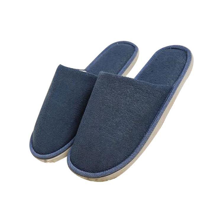 Chaussure Homme Hiver Meilleure Qualité Mode Classique Chaud Intérieur Étage Pantoufles Cotton Slipper Ultra Confortable bleu 45 JvcPR6XTC