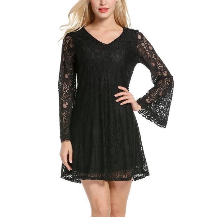 Robe femme automne manches longues col V en dentelle mode Noir SIMPLE FLAVOR