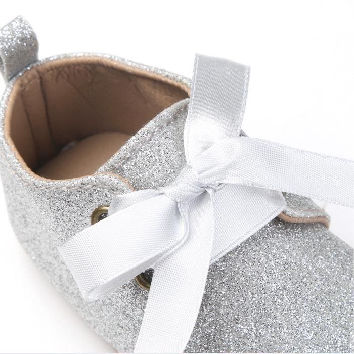 BOTTE Nouveau-né bébé fille garçons sequins chaussures léopard jusqu'à glisser dentelle bow cravate sneaker@ArgentHM