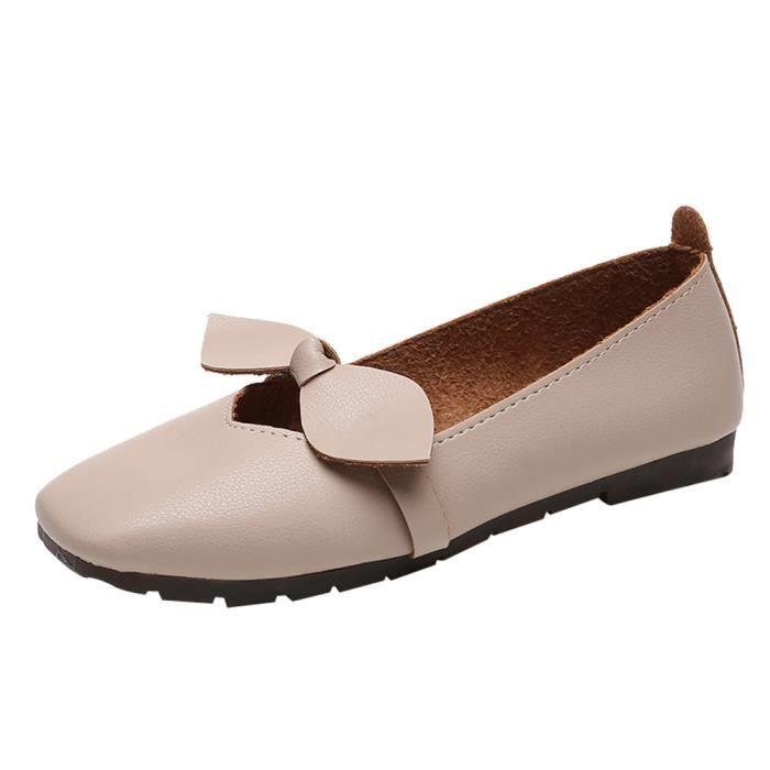 Bas Plat Chaussures Bout Bowknot Carré Beige Talon Peu Profond Slip Femmes Simples xZS6qnBwXq