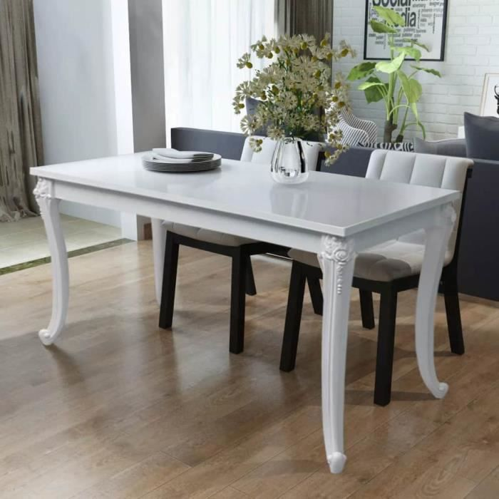 Table a manger blanche laquee - Achat / Vente pas cher