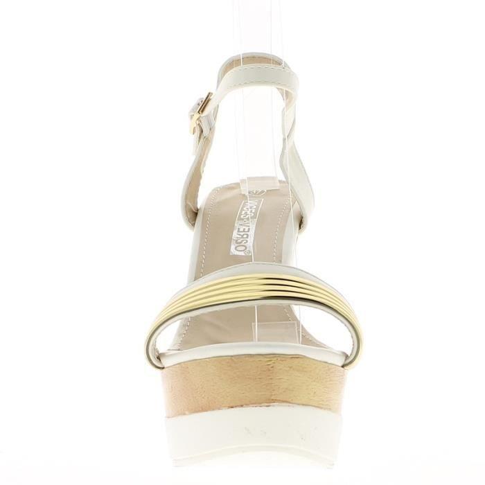 Sandales compensées blanches à talon de 13cm et semelle épaisse
