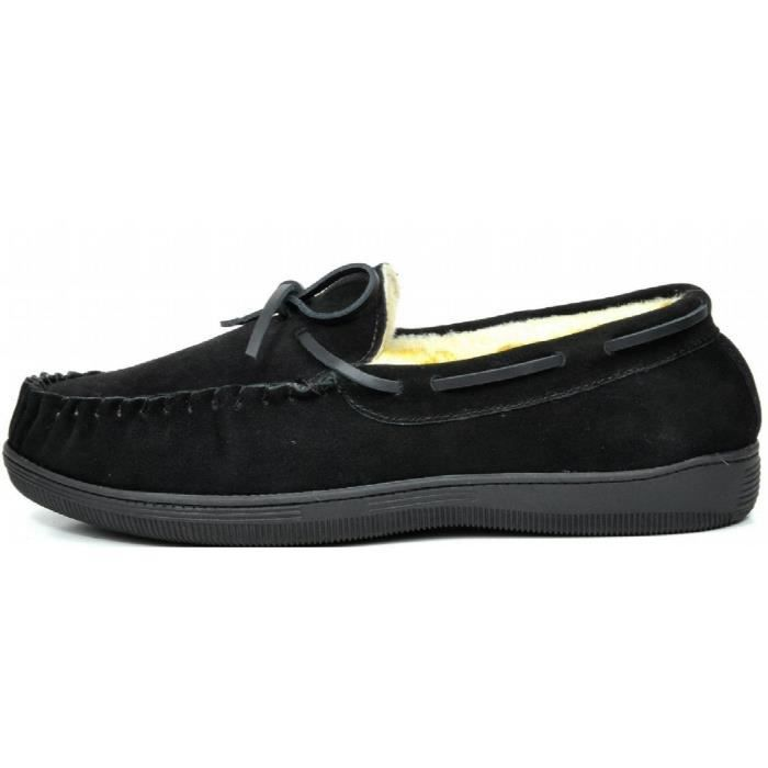 Fur-mocassin-01 Suede Chaussons Mocassins I769L Taille-42 1-2