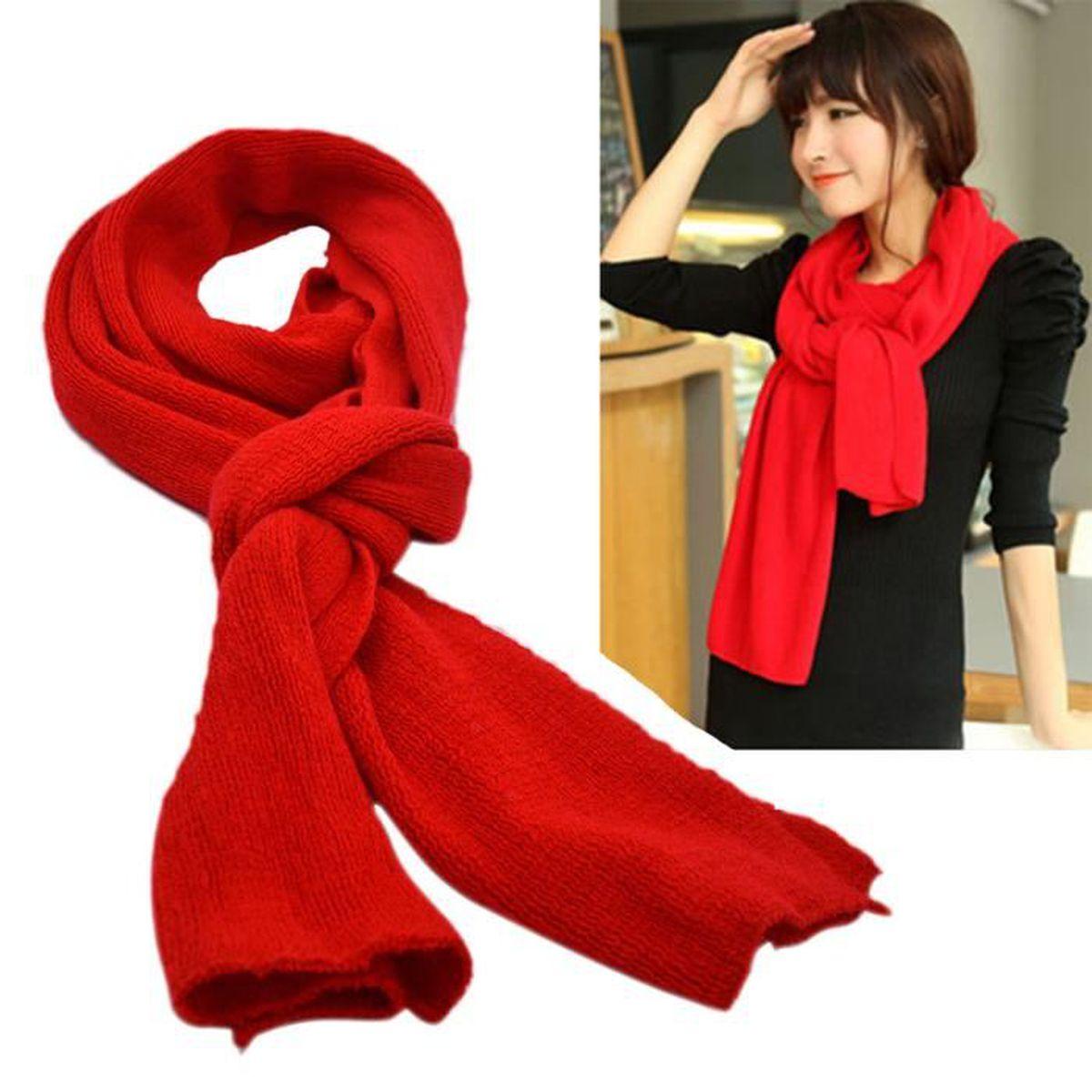 Vococal® Femmes à la mode hiver chaud laine tricot écharpe châle rouge c492bfaeeb8