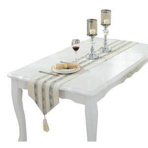 CHEMIN DE TABLE Chemin de Table en Lin Nappe Motif Chic Décoration
