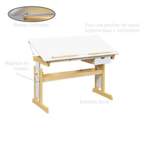 bureau enfant en bois massif achat vente bureau enfant en bois massif pas cher cdiscount. Black Bedroom Furniture Sets. Home Design Ideas