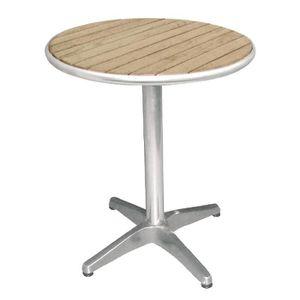 TABLE D'APPOINT Table bistro ronde en aluminium et plateau en frên