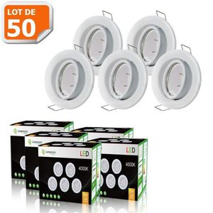SPOTS - LIGNE DE SPOTS LOT DE 50 SPOT LED ENCASTRABLE ORIENTABLE BLANC AV
