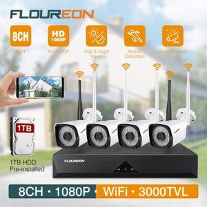 CAMÉRA DE SURVEILLANCE Floureon Kit de Caméra Surveillance 1 X 8CH 1080P
