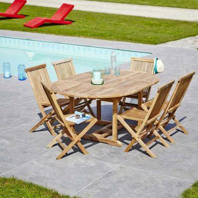 Salon de jardin en TECK BRUT QUALITE GRADE A 6/… - Achat / Vente ...