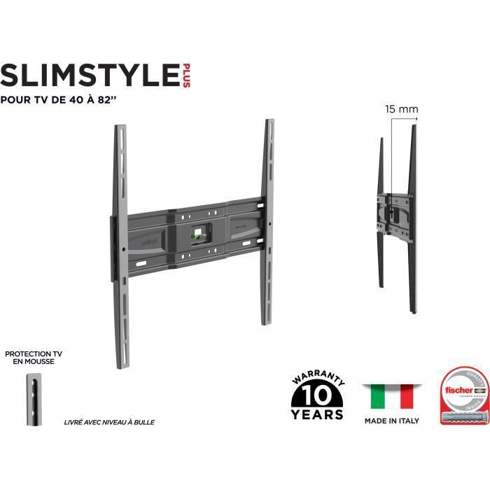 MELICONI 480952 Support mural TV fixe Slim SP 400 S PLUS pour TV de 40'' à 82'' (101-208 cm) + câble HDMI