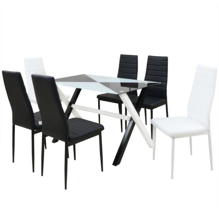 P4 Ensemble Table Et Chaises De Salle A Manger 7 Pcs Pu Achat