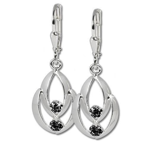 SilberDream Boucles doreilles Glamour zircon noir - argent sterling 925 pour femme